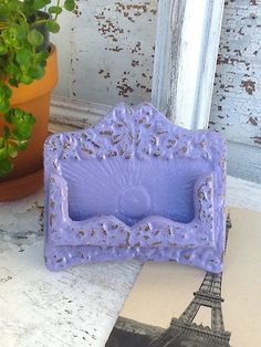 Lavender Business Card Holder / Bright Cast Iron by AlacartCreations