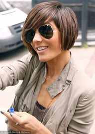 cute, simple short bob. dark brown color with light brown hilites... love this cut