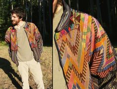 COSMIC VIBES Ethnic Colorful Avant Hippie Bomber Jacket, Mens Large. $69,00, via Etsy.