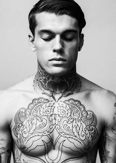 Chest and Neck Tattoo. Stephen James