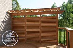 Toronto builder of fine custom screens, decks, porches, and accessiores in cedar and pressure treated wood, Your Deck Company. Privacy Wall On Deck, Privacy Fence Designs, Patio Deck Designs, Garden Privacy, Privacy Screen Outdoor, Privacy Walls, Balcony Design, Deck Privacy Screens, Privacy Fences