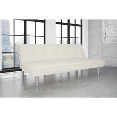 Avenue Greene Noah Futon Sofa Bed, White (Futon, white leather), Size Twin