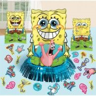 "SpongeBob: ""Hey Patrick, I've got the perfect birthday party table decorations for the Krusty Krab"". Patrick: ""How old IS the Krusty Krab""? This SpongeBob Classic Table Decorating Kit is the perfect altar for your favorite anti-hero. Includes: 1 - Foil F Birthday Party Centerpieces, Birthday Party Tables, Party Table Decorations, Birthday Ideas, 4th Birthday, Spongebob Birthday Party, Pig Party, Party Party, Kids Party Supplies"