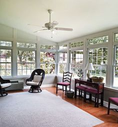 Hybrid Sunroom Interior - Adding on the kitchen/patio area, to create a dining and sitting space.