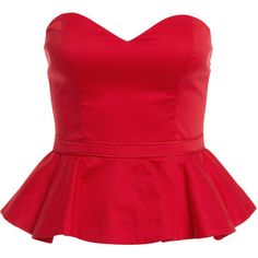 Bardot Peplum Bustier (4.340 RUB) ❤ liked on Polyvore featuring tops, shirts, blouses, corset, red, bustier tops, corset shirts, corset style tops, ruffle shirt and red peplum shirt