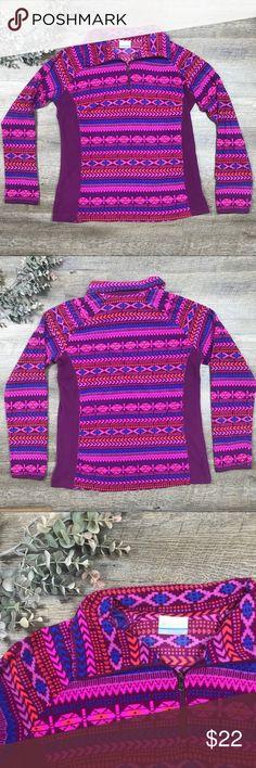 Columbia Fleece Pullover Fun patterned colorful Columbia fleece pullover! I. Excellent condition! Columbia Jackets & Coats