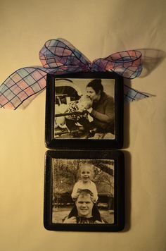 I finally made a photo block today. SO easy! I printed a 4x6 pic on plain paper. Cut pic to fit wood. Spray paint a piece of wood black. Coat the wood with a layer of Mod Podge, then lay the picture on top. Gently smooth out. Once dry, gently use sandpaper to rough up the edges, then put a layer of mod podge over the picture. I used a wooden craft stick & glued it to the back of the 2 blocks to join them together. Add hardware & ribbon. Very happy with how this turned out & will be making more!