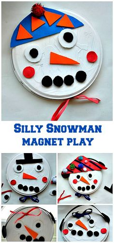 Magnetic Snowman Craft for kids - so many ways to play from Blog Me Mom