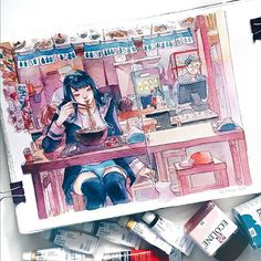 main ramen shop sketch in my Saunders Waterford handmade sketchbook! filmed this yey!