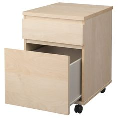 Two Drawer Wood File Cabinet On Wheels