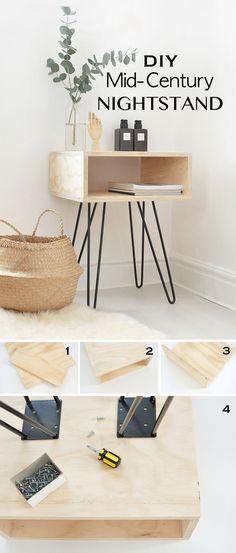 DIY Home Decor: DIY Mid-Century Nightstand // Build this mid-centu...