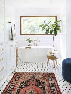 - The best sources of affordable vintage rugs: Vintage rugs are a good . - Decoration Styles - The Best Sources of Affordable Vintage Rugs: Vintage rugs are a good source of … Vintage Modern, Vintage Rugs, Modern Vintage Bathroom, Mid Century Modern Bathroom, Vintage Kitchen, Vintage Stores, Modern Bathroom Decor, Vintage Wood, Vintage Black