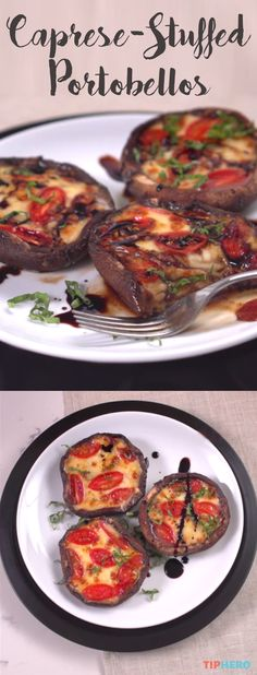 Caprese-Stuffed Portobello Recipes |Enjoy all the delicious flavors and ingredients of the classic caprese salad –  mozzarella, tomato, balsamic vinegar – stuffed inside a portobello mushroom. Serve as an appetizer, a side, or a main event! Click for the recipe and how to video.  #familydinner #dinnertime #sidedishes #mushrooms #easyapps