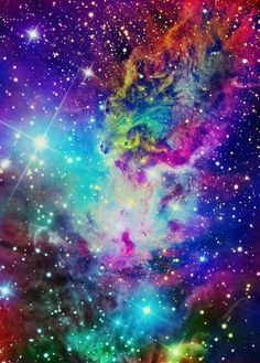 rainbow colored galaxy art