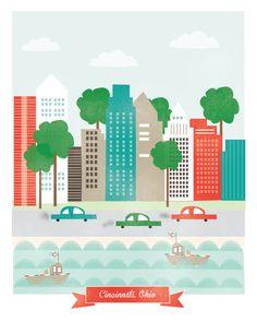 Cincinnati, OH art print illustration - 11x14 - city art poster Cincinnati