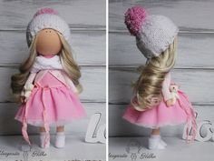 Art doll pink white blonde Collectable doll от AnnKirillartPlace