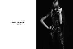Hedi Slimane shoots top British model Edie Campbell as a rock chick for the spring/summer ad campaign for Saint Laurent Paris. Edie Campbell, Ysl Paris, Fashion Tape, Hedi Slimane, New Saints, Fashion Advertising, Saint Laurent Paris, Black N White Images, Glam Rock