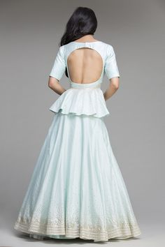 Blue Sequins Work Chanderi Silk Peplum Top And Lehanga