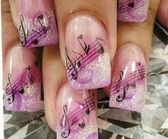 Musical notes. Absolutely beautiful. Wish it was a different color like blue or something. But the style of the nail is magnificent.