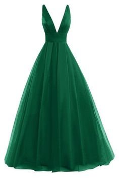 New Arrival Sexy Prom Dress, Open Back Tulle Prom Dress , Dark V-neck Evening Dresses