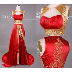 New Design Gold and Red Embroidery Beading Long Prom Dress/Embroidery... ($179) ❤ liked on Polyvore featuring dresses, gowns, long gowns, prom gowns, long red dress, red evening dresses and red ball gown
