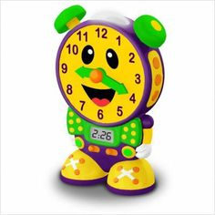 The Learning Journey Telly The Teaching Time Clock (Yellow) by The Learning Journey International. $49.99. From the Manufacturer                Let Telly the Teaching Time Clock help your child learn to tell both analog and digital time using two quiz modes. In the learning mode, Telly teaches time in five minute increments by moving the hands and updating the LCD screen. In the quiz mode, Telly asks your child to move the hands on its face to match the time displayed on...