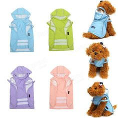 Pet Dog Puppy Cat Outdoor Hooded Raincoat Waterproof Clothes Dog Coat Jacket Apparel