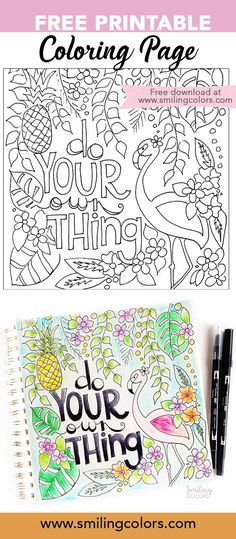 FREE Printable coloring page- perfect for kids or adults! Print as many times as you want and enjoy! Coloring pages free printable, coloring pages free printable quotes, Flamingo, Summer, Nature, Tropical @smithakatti