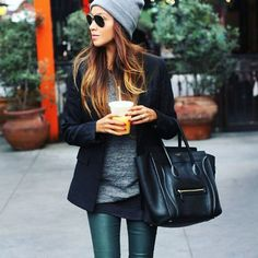 Petrol leather pants and leggings are a MUST this Fall www.enes.be #leatherpants #petrol #oceanblue #forestgreen #celine #phantom #beanie #blazer #starbucks #latte #streetstyle #autumn #look #outfit #inspiration #instafashion #knitwear #shopping #antwerp #enes_antwerpen