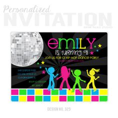 Hey, I found this really awesome Etsy listing at https://www.etsy.com/listing/184596171/disco-party-invitations-kids-dance-party