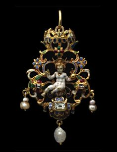 Gold, varicoloured enamel and diamond pendant, centred on figure of the Infant Christ, enthroned beneath a canopy, globe in one hand, the other raised in benediction, between two table cut diamonds in four petal (quatrefoil) settings, and above a third, larger, similarly set, applied to a backplate of open scrolls with forget-me-nots. Three hanging pearls, c.1600.