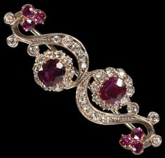 Antique Jewellery » Edwardian Natural Ruby & Diamond Brooch