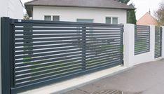 Brix Frontline Alu Zaun & Tor, Horizontale Profile - Brix Zäune & Tore aus Aluminium Main Gate, Iron Gates, Steel Doors, Fence Design, Blinds, Garage Doors, 1, Home Appliances, Backyard