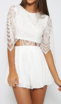 lace playsuit for the last Summer days White Lace Playsuit, The Last Summer, Summer Days, Pretty Outfits, Cute Outfits, Estilo Boho, Up Girl, Fashion Outfits, Womens Fashion