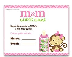 Girl Monkey M&M Game, Guess How Many Game Candies in the bottle  Baby shower  Monkey  Shower DIY Jungle Chevron- oz02bs50