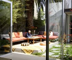 Raised concrete patio. Interesting idea.