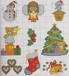 Gráfico Ponto Cruz de Natal Fall Cross Stitch, Mini Cross Stitch, Cross Stitch Embroidery, Christmas Tree Pattern, Christmas Cross, Christmas Fun, Cross Stitch Designs, Cross Stitch Patterns, Cross Stitch Freebies