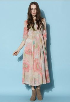 Spring Scenery Floral Maxi Dress