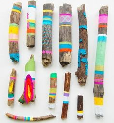 painted driftwood. A great craft to do with children or to do for yourself !
