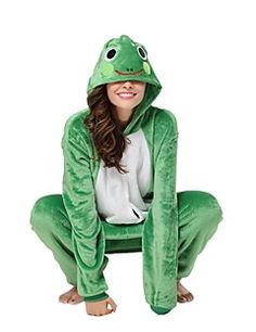 9d48ad4e753ca7 Adults' Kigurumi Pajamas Frog Onesie Pajamas Costume Flannel Toison Green  Cosplay For Animal Sleepwear Cartoon Halloween Festival / Holiday /  Christmas