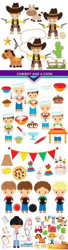 Find your Grapfix Desire With US http://www.desirefx.me/cartoon-vector-illustration-cowboy-and-a-cook-5x-eps/
