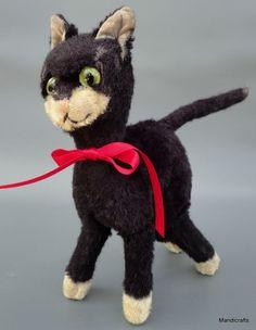 Schuco Crazy Cat Black Mohair Plush 22 cm Bendy 1960s Glass Eyes Long Legs no ID #Schuco #AllOccasion