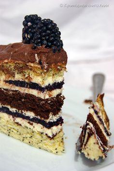 "Торт ""Орбита"" с ежевикой Delicious Cake Recipes, Yummy Cakes, Sweet Recipes, Dessert Recipes, Yummy Food, Russian Cakes, Russian Desserts, Russian Recipes, Hungarian Cake"