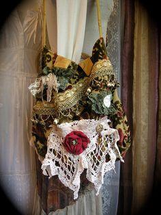 Bohemian Gypsy Bag thick velvet chenille carpet bag by GrandmaDede
