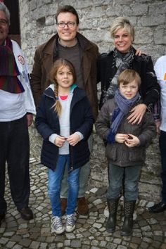 Prince Constantijn (back, L), Princess Laurentien (back, R) and two of their children, Countess Eloise and Count Claus-Casimir of The Netherlands volunteering for NL Doet at Museum Gevangenpoort in Bergen op Zoom on 16 March 2013