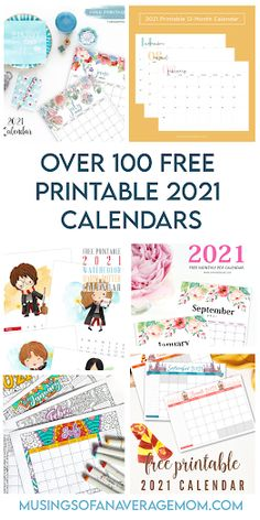 Get organized for the new year with over 100 FREE printable 2021 calendar designs.