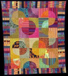 """Green Cheese Moon Rising"" at Pamela Thiele art quilts"