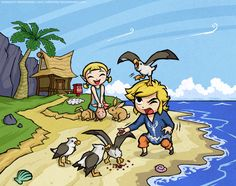 Link, Aryll, and seagulls on Outset Island - The Legend of Zelda: The Wind Waker