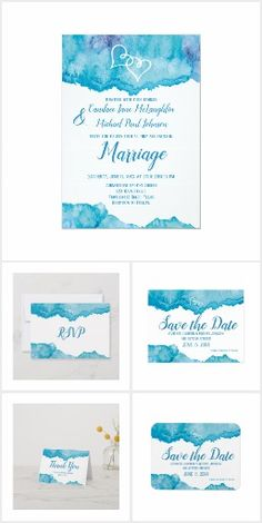 Invite, RSVP Cards, Save the Date postcards and magnets, personalized thank you cards and more. Mix and match the items you need for your wedding. Teal Wedding Invitations, Watercolor Wedding Invitations, Wedding Invitation Templates, Personalized Thank You Cards, Save The Date Postcards, Teal Blue, Place Card Holders, Rsvp, Invite
