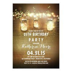 Rustic Barn String Light Mason Jars Birthday Party Card